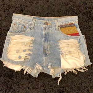 Unique vintage custom made ripped Short Jeans